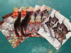 Pack 8 Beautiful Cat Art Cards Blank Notecards Birthday General Design Print