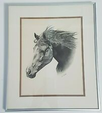 Freedom Sound Framed Print of Black and White Drawing of a Horse by Al J Casson