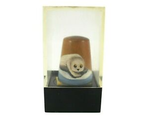 Carradus Originals THIMBLE with Hand Painted Seal on Walnut Wood in Box #23/250
