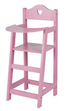 Puppenhochstuhl Puppenstuhl Hochstuhl Stuhl für Puppen aus Holz Farbe rosa NEU