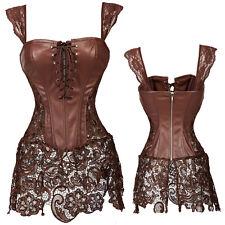 Burlesque Vitorian Corset Party Outfit Dress Waist Trainer Overbust Bustier TUTU