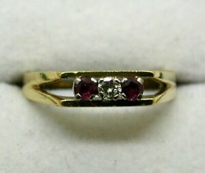1970's Vintage 18 carat Gold Ruby And Diamond Three Stone Ring Size P