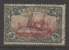 1900 German colonies Cameroun 5 Mark Yacht used - DUALA - signed, $ 720.00