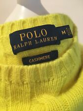 Polo Ralph Lauren Cashmere Sweater, Medium, Neon Yellow