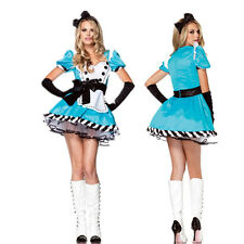 Women Sexy Blue Maid Alice in Wonderland Fancy Dress Halloween Cosplay Costumes