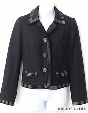 GAP Black Wool Jacket White Contrast Stitching Plaid Lining Nice Detail Small