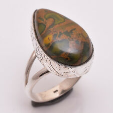 925 Solid Sterling Silver Ring Size US 7, Natural Jasper Gemstone Jewelry R2672