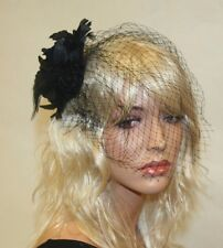 Black Fascinator with Flower and Veil, Wedding and Prom Accessories