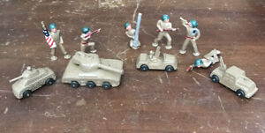 Vintage Manoil Barclay Army Men Green Helmet Soldiers & Tanks Vehicles Lot