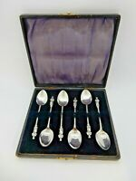 EDWARDIAN Boxed Set of 6 APOSTLE SOLID Silver Coffee Spoons Birmingham 1909. 37g