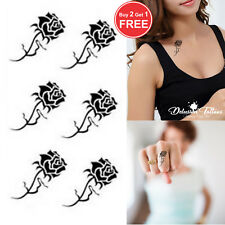 SMALL GOTHIC  ROSES TEMPORARY TATTOOS, X6, FINGER, EAR, NECK, MENS, WOMENS, KIDS