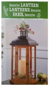DECORATIVE HOLIDAY WOOD LANTERN WITH LED FLICKERING CANDLE, BROWN *NIOB