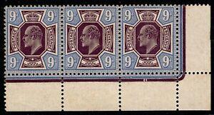 1913 SG307a 9d Deep Plum & Blue M41(5) Strip of 3 MLH Mint OG CV £310++