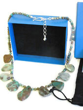 """NIB Jay King  Flat Green Turquoise Beaded Sterling Silver Necklace 20"""""""