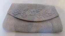 New listing Vintage White Beaded Purse Clutch Wedding Satin Lined