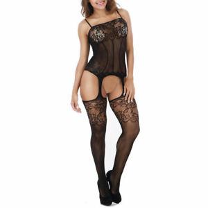 Women Lace Sexy-Lingerie Open Crotch Nightwear G-string Babydoll Sleepwear Dress