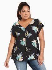 NWT Torrid Women's Plus Top Floral Print Georgette Button Front Top 4 26/28