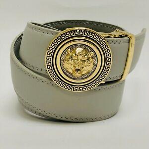 Fashion Automatic Designer Buckle Men's Red Gold Ratchet Genuine Leather Belt