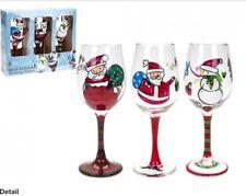BICCHIERI da vino di Natale-Set di 3 dipinti a mano Natale Bicchieri da Vino