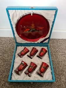 Vintage Japanese Lacquered Saki Cups and Tray - Boxed.  Plastic - Gift - Xmas