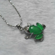 Gift Box Wholesale Green Silver Natural Tibet Necklace Pendant Jade Frog