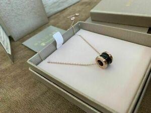 Bvlgari Save The Children Black Ceramic Rose gold Pendant Necklace