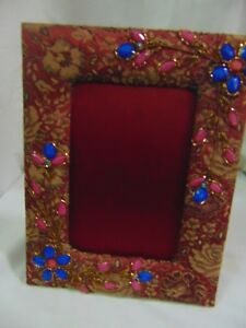 red Picture Home beaded decor table top 9x7 sequence Embroidery Vintage