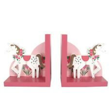 Gisela Graham Unicorn Wooden Bookends Children's Girls Bedroom Décor Pink