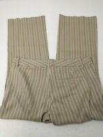 Express Women's Pants Sz 4 Editor Brown Striped Dress Slacks Pinstriped 30X24.5