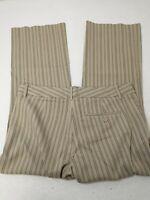 Express Women's Pants Sz 4 Editor Brown Striped Dress Slacks Pinstriped 30X24.5