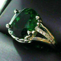 4 Ct Oval Green Emerald Solitaire Ring Women Jewelry Gift 14K White Gold Plated