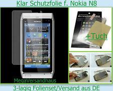 2x Kristall klar Display Schutz Folie Nokia N8 Handy Folien Set + Tuch Protector