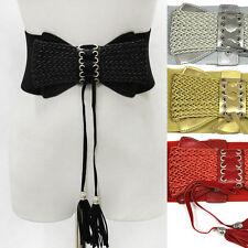 Bowknot Wide Elastic Stretch Cinch Corset Tassle Fringe Leather Belt Waistband