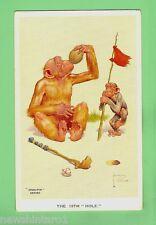 #A.  GRAN-POP CHIMPANZEE   POSTCARD - GOLF THEME