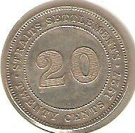 Offer>1927 Straits Settlements KGV 20 cents very high grade. details! scare??