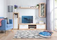 Living Room Set Sonoma White LED Display Cabinet TV Unit Wood Effect Shelf