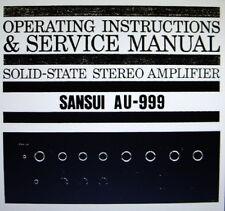 SANSUI AU-999 SS ST Amp operating instructions et service manual Bound anglais