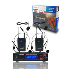 STARAUDIO 2 Channel UHF Wireless Microphone System Lavalier Lapel Headset Mic