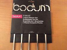 Bodum Fyrkat 5 Grill Skewers, Skewer Set for Grilling BBQ, Stainless Steel