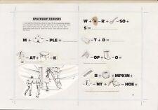 1983 STAR WARS RETURN OF THE JEDI BOOK ORIGINAL ART DOUBLE PAGE SPREAD LEIA ROTJ