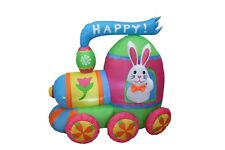 Air Blown LED Easter Inflatable Bunny Colorful Train Yard Indoor Outdoor Decor