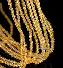 """3MM HONEY CITRINE GEMSTONE YELLOW GOLD FACETED ROUND 3MM LOOSE BEADS 16"""""""