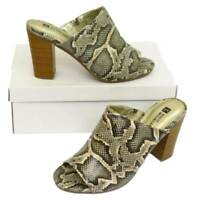 WOMENS SNAKE SLIP-ON MULES PEEP-TOE BLOCK-HEEL SLIDER SHOES SUMMER SANDALS 3-8