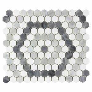 Modern 1X1 Hexagon White Blue Gray Marble Mosaic Tile MTO0525