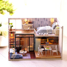 Miniature 3D Doll House LED DIY Wooden Furniture Handmade Toys Gift Dollhouses