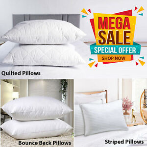 Large Soft Pillows Bounce Back Firm Deluxe Striped Pillows Pack Of 2