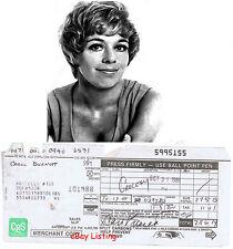CAROL BURNETT    AMERICAN ACTRESS   HAND SIGNED PAYMENT SLIP    1988  RARE ITEM