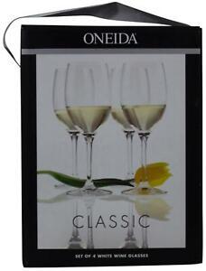 New ONEIDA Classic SET Of 4 WHITE WINE GLASSES European Crystal 12 Oz Each NIB !