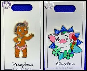 Disney Parks 2 Pin Lot MOANA Toddler baby + Pua pig with Hei Hei - NEW