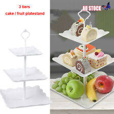 3 Tier Cake Stand Square Cupcake Wedding Birthday Party Afternoon Tea Tray Plate